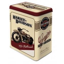 boite metal harley davidson beige rouge 750 flathead rect
