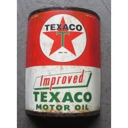 1/2 bidon d' huile texaco improved motor oil tole pub garage