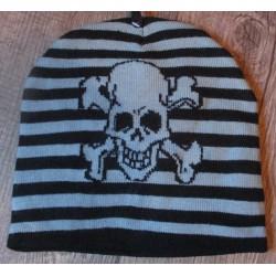 bonnet crane pirate rayé noir gris rock roll adulte mixte