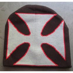 bonnet noir croix malte grise tour rouge adulte homme femme