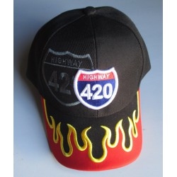 casquette highway 420 noir flamme orange homme biker usa