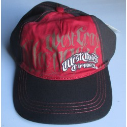 casquette west coast choppers bordeau / noir biker motard