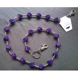 chaine de portefeuille dé violet rock roll biker rockabilly