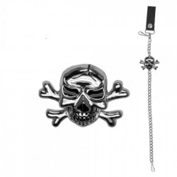 chaine de portefeuille chromé avec 1 crane pirate biker rock
