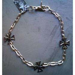chaine de portefeuille chromé 3 croix de malte noir biker