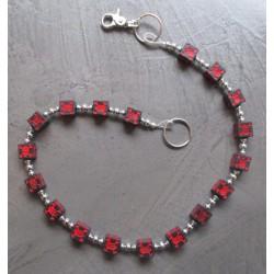 chaine de portefeuille dé noir crane pirate rouge biker rock