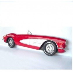 coté chevrolet corvette 3d cabriolet rouge et blanc deco bar