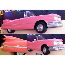 coté cadillac 1959 cabriolet rose 3d déco bar diner loft usa