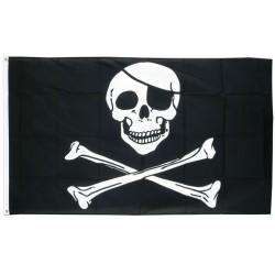 drapeau pirate noir et blanc crane tete de mort 150 x90 flag