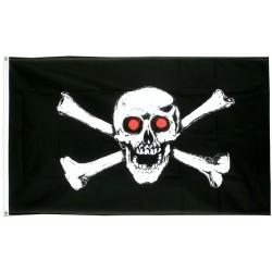 drapeau pirate oeil rouge crane tete de mort 150x90 flag