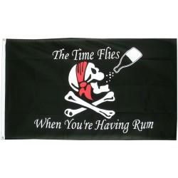 drapeau pirate et  bouteille rhum teted e mort crane 150cm
