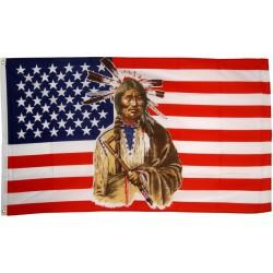 drapeau usa et chef indien debout flag americain 150x90