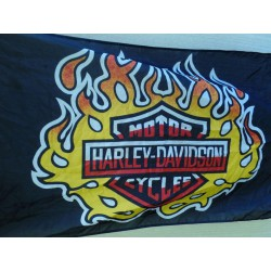 drapeau harley davidson logo à flammes biker moto chopper