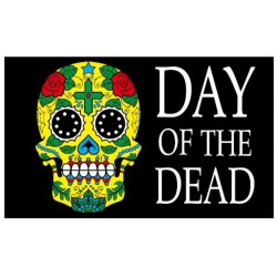 drapeau day f the dead crane tribal muerte tete de mort 150