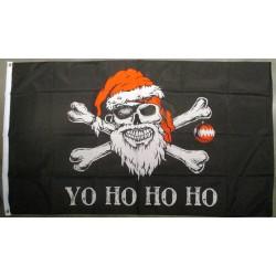 drapeau crane pere noel  ho ho ho rock roll 150x90 nylon