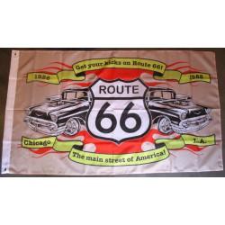 drapeau route 66 et chevrolet bel air 1957 main street flag