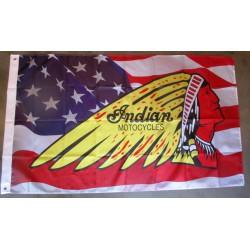 drapeau usa et logo indian mtorcycle loto deco garage flag