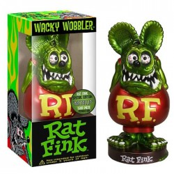 figurine rat fink tete vert métal corp rouge bobble head usa