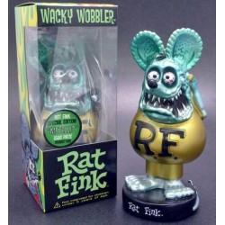 figurine rat fink tete bleu corp doré statuette bobble head