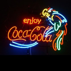 néon publicitaire coca cola enjoy perroquet deco bar diner