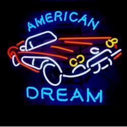 néon publicitaire american dream voiture corvette usa pub