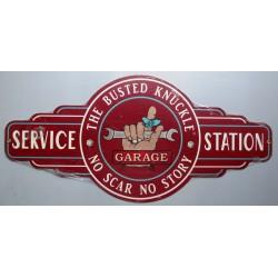 plaque tole épaisse service station busted 66cm enseigne usa