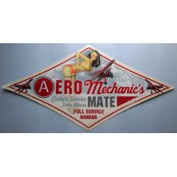 plaque tole épaisse aero mechanic pin up avion 71 cm usa
