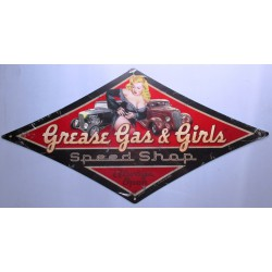 plaque tole épaisse grease gas  & girls pin up hot rod 71cm