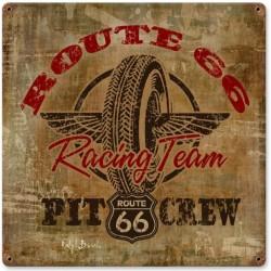 plaque tole épaisse route 66 racing team pneu garage usa