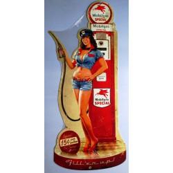 plaque tole épaisse pompe à essence et pin up 65cm deco us