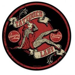 plaque tole épaisse tattooed lady ronde salon tatouage usa