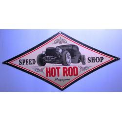 plaque tole épaisse speed shop hot rod 71cm deco garage us
