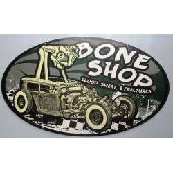 plaque tole épaisse hot rod  bone shop 61cm ovale usa tole