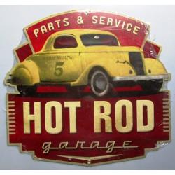 plaque tole épaisse hot rod jaune garage parts & service us