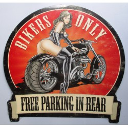 plaque tole épaisse bikers only free parking pin up sexy usa
