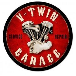 plaque tole épaisse v twin garage moteur HD deco garage us