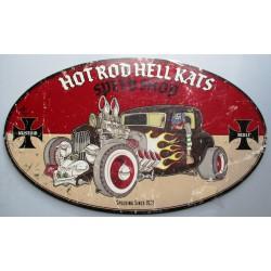 plaque tole épaisse hot rod  hell kats  flammes 61cm tole us