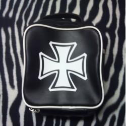 sac à main noir croix de malte blanche rock roll punk trash
