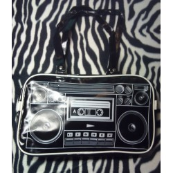 sac a main rockabilly radio cassette noir retro pinup femme