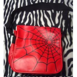 sac a main toile araignée rouge simili gothique punk rock