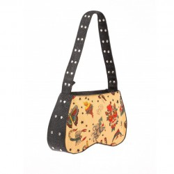 sac à main tissus beige imprimé rockabilly  pin up rétro  ro
