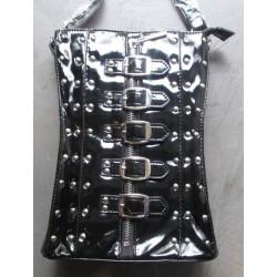 sac a main corset noir gothique pin up rock roll trash purse