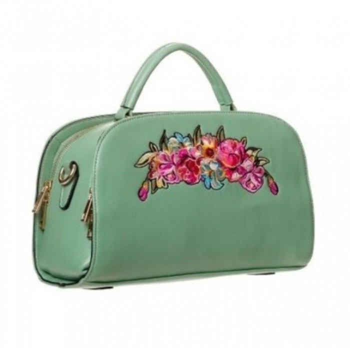 sac a main pin up vert avec des fleurs brodées banned