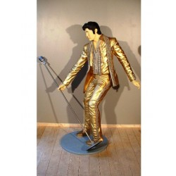 statue géante elvis presley doré king rock roll taille réel
