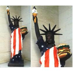 statue de la liberté drapeau  usa et hamburger  167 cm deco