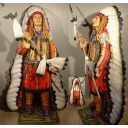 statue géante chef indien avec lance taille réel deco diner