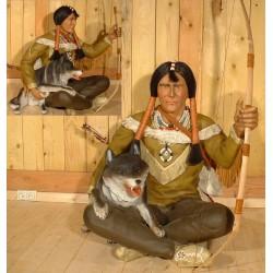 statue géante indien assis et chien taille réel deco barus