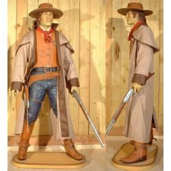 statue géante cowboy en manteau taille réel deco bar diner