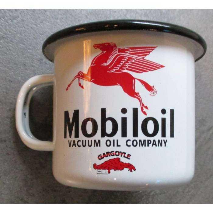 mug mobiloil en email tasse à café emaillée pegase huile usa