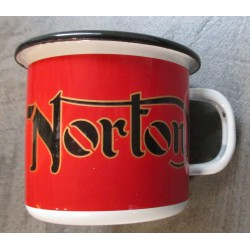 mug norton rouge email tasse à café emaillée moto retro
